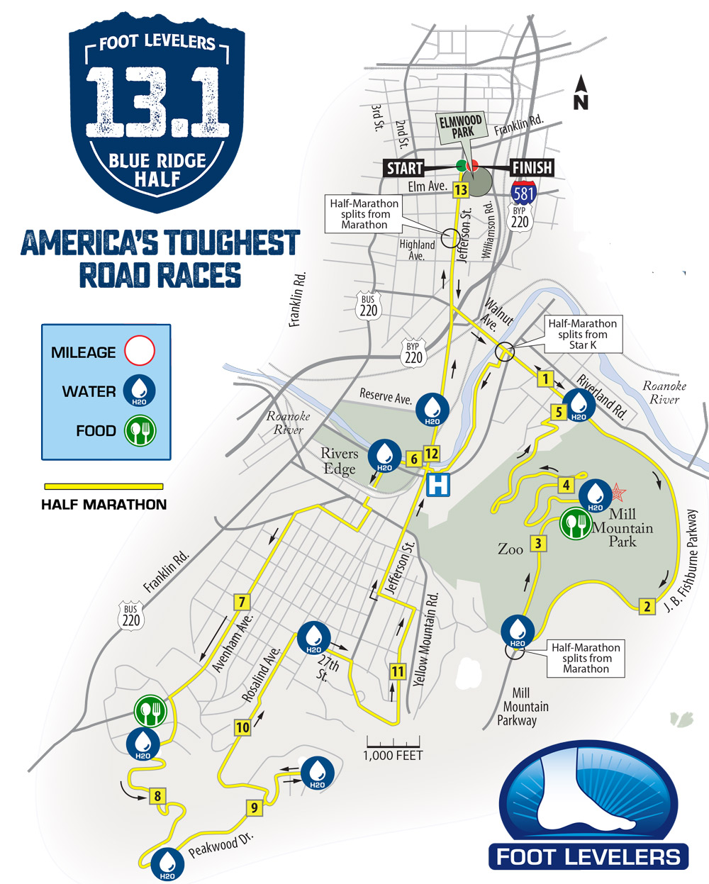Blue Ridge Half Marathon Course Map