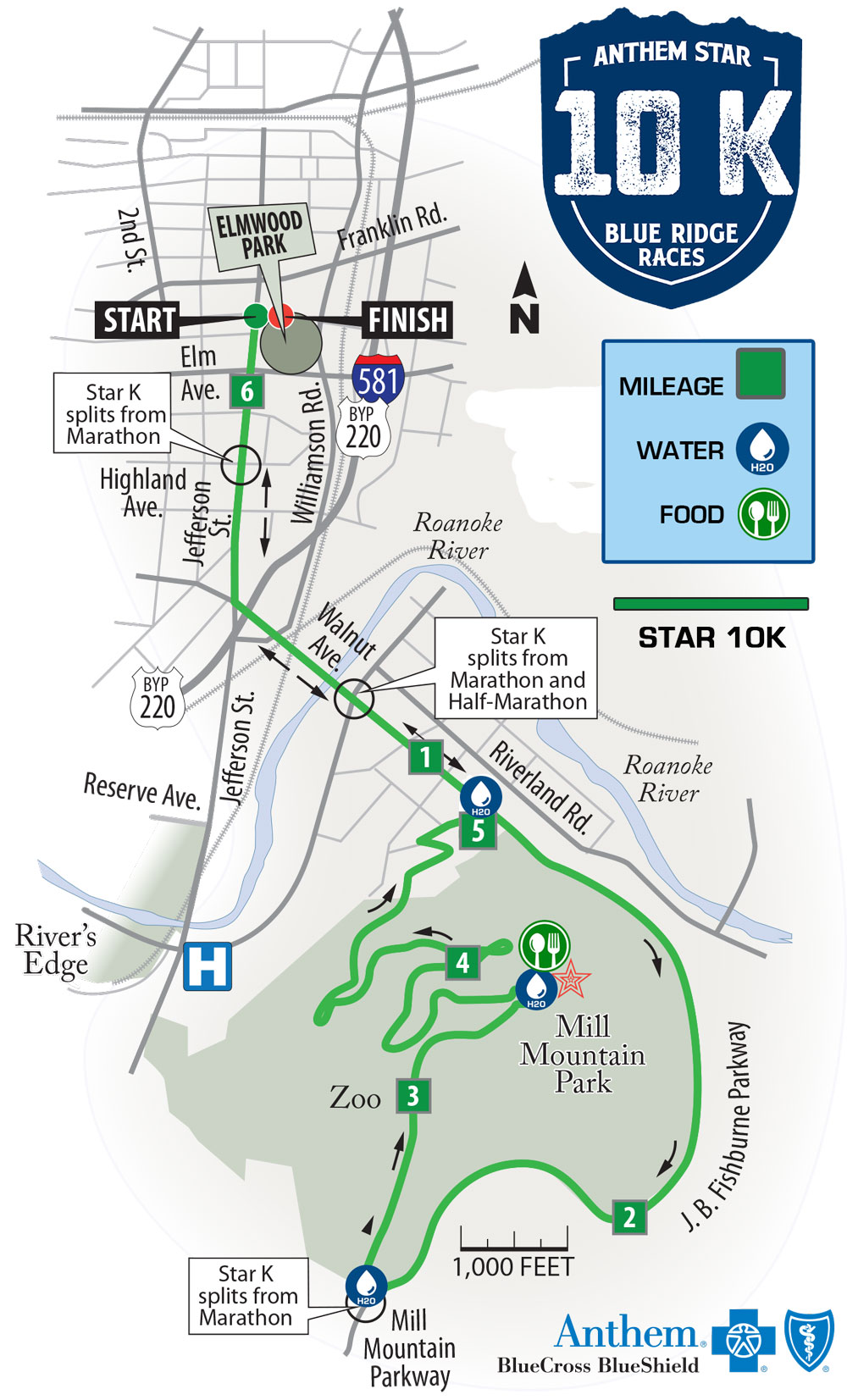 Anthem Star 10K Course Map