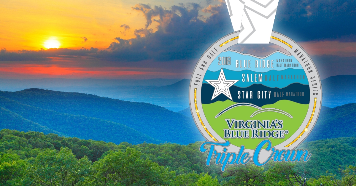 Sunset picture of Virginia's Blue Ridge with Medal superimposed